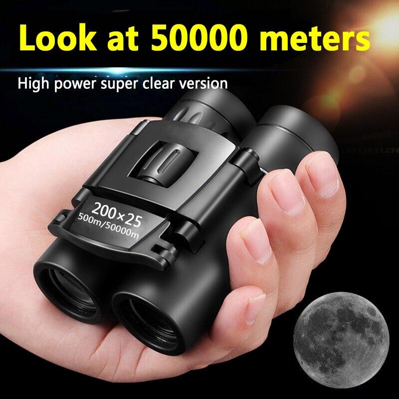 Мини Портативный с переменным фокусным расстоянием HD 50000 м телескоп бинокль мощный 200x25 складной длинный диапазон низкий светильник Ночное ...