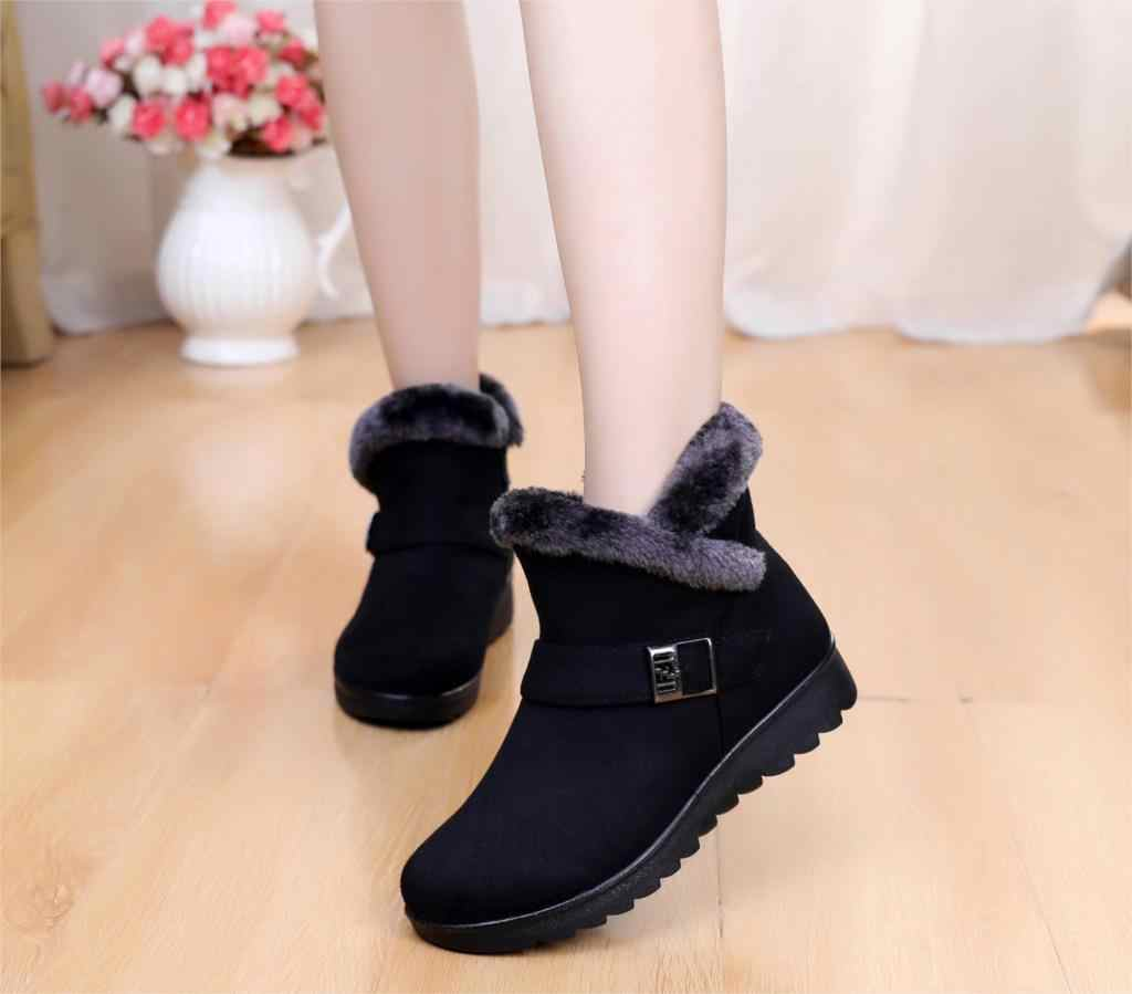 Snow Boots Women buckle Winter Fashion Warm plush warm Ankle Boot Female Casual Shoes sneakers black red brown Plus Size st480