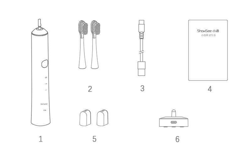 XIAOMI ShowSee Sonic Electric Toothbrush Whitening Teeth vibrator Wireless Brush 30 days Ultrasonic Smart Hygiene Cleaner