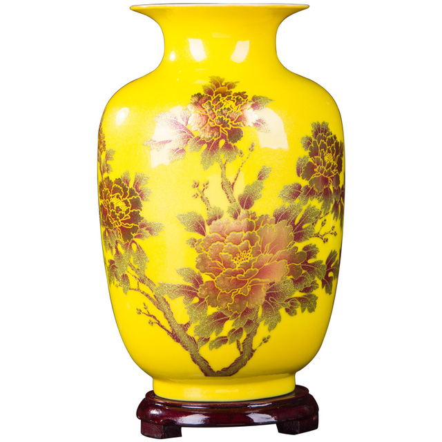New Chinese Style Vase Jingdezhen Yellow Crystal Glaze Flower Vase Home Decor Handmade Shining Famille Rose Vases 1