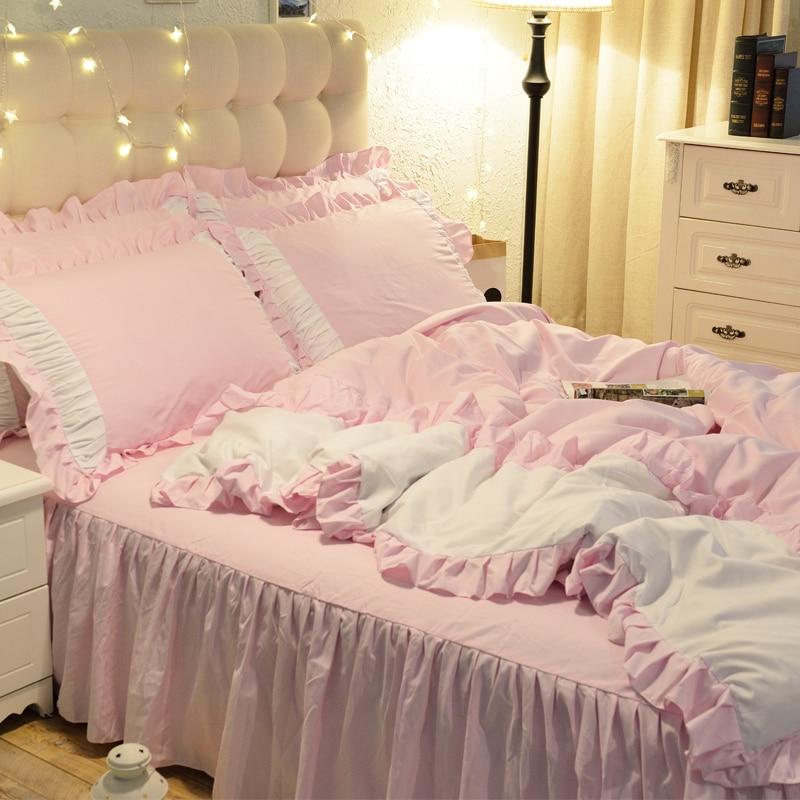 1.5/1.8/2.0m Home Bedroom Bedding Set Duvet Cover Pillow Cases Sheet Four Pieces Set Sweet Princess Style 2