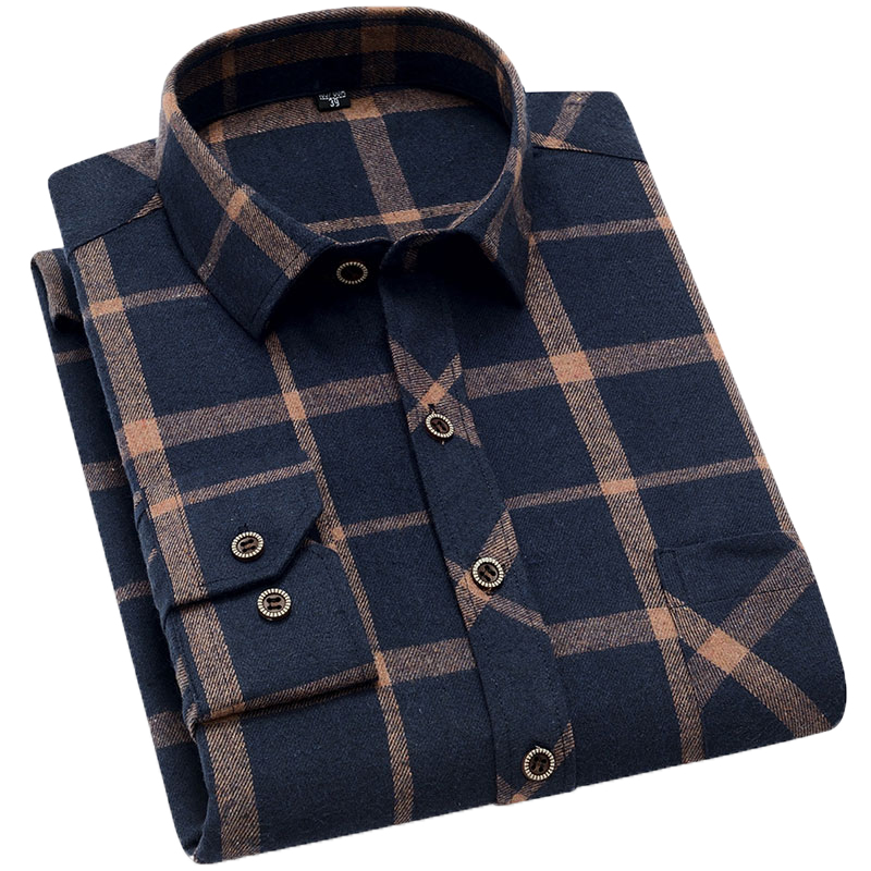Aoliwen Brand Men Yellow Black Plaid Brushed Long Sleeve Shirt Pocket Spring Casual Men's Shirts Flannel Cotton Soft Fit