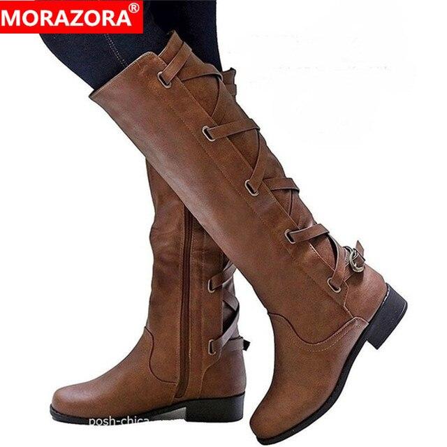 Женские сапоги до колена MORAZORA, удобные повседневные Сапоги на молнии с пряжкой на квадратном каблуке, сезон осень зима, большие размеры 43, 2020