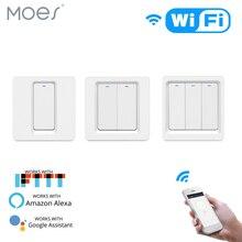 Interruptor de luz inteligente, interruptor de luz inteligente por wi fi, botão smart life/tuya app, controle remoto funciona com alexa do google home para controle de voz