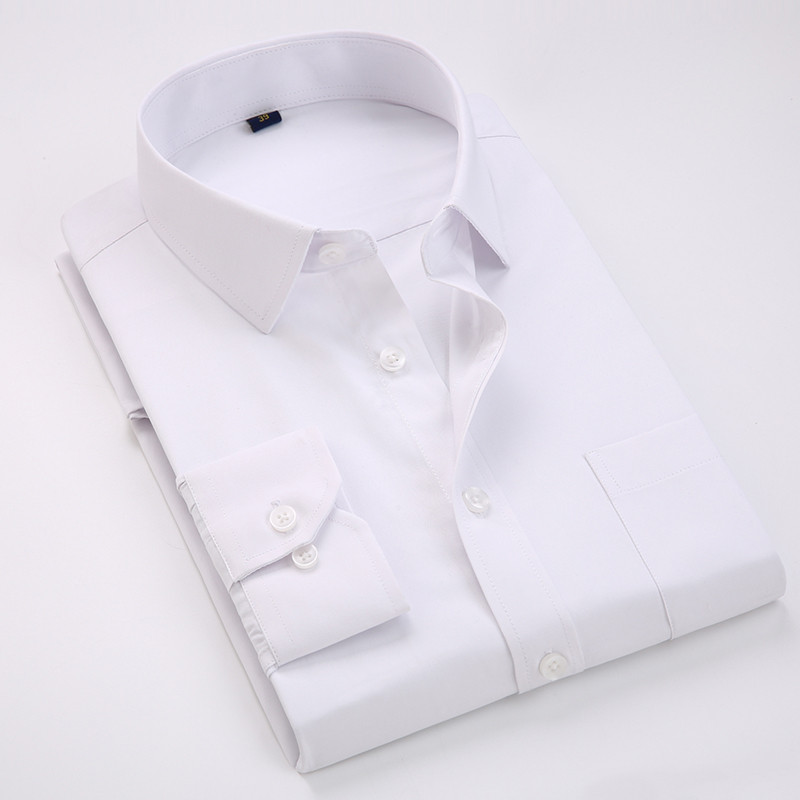 Comfortable  business  men's solid plain dress shirts long sleeve square collar regular fit male social shirt 2