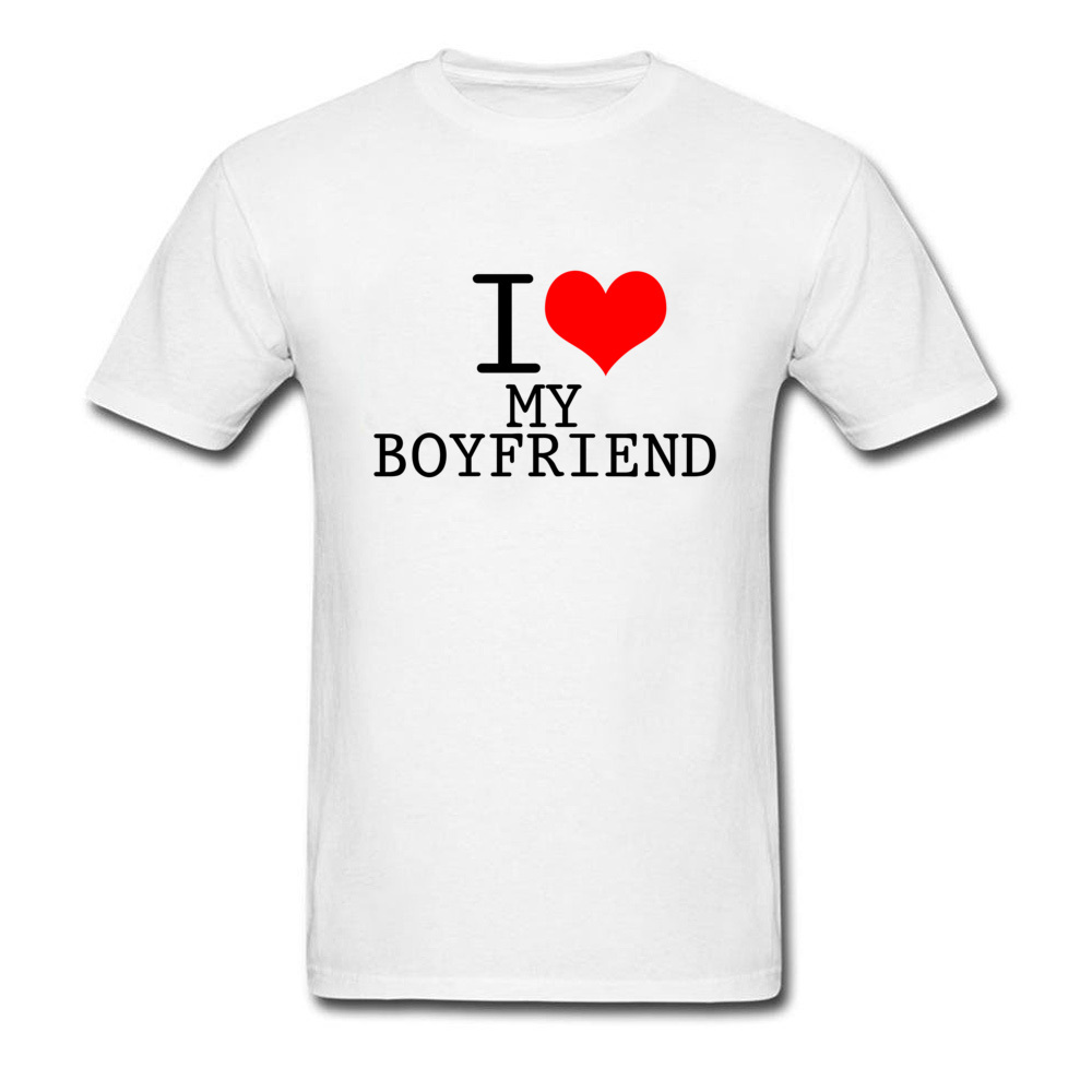 DYET I Love My Boy Friend Men's Good Quality O Neck Full Cotton Small Size Custom Valentines Day Gift T Shirts Couple Lovers image