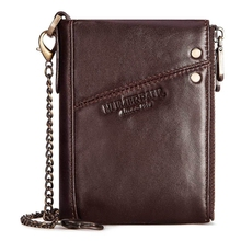 Q1FA Men's RFID Blocking PU Leather Bifold Wallet Business Short Purse with Anti Theft Chain