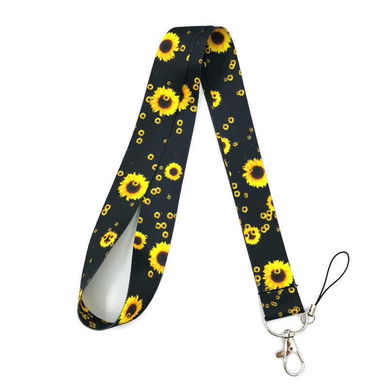 Girasoles correa de cuello cordón para llaves ID tarjeta insignia titular correas móviles teléfono cuerda lazo de llavero collares llaveros correas