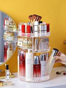 Вращающаяся на 360 градусов косметическая коробка для хранения, органайзер для макияжа, косметическая стойка для хранения, модная кристальн...
