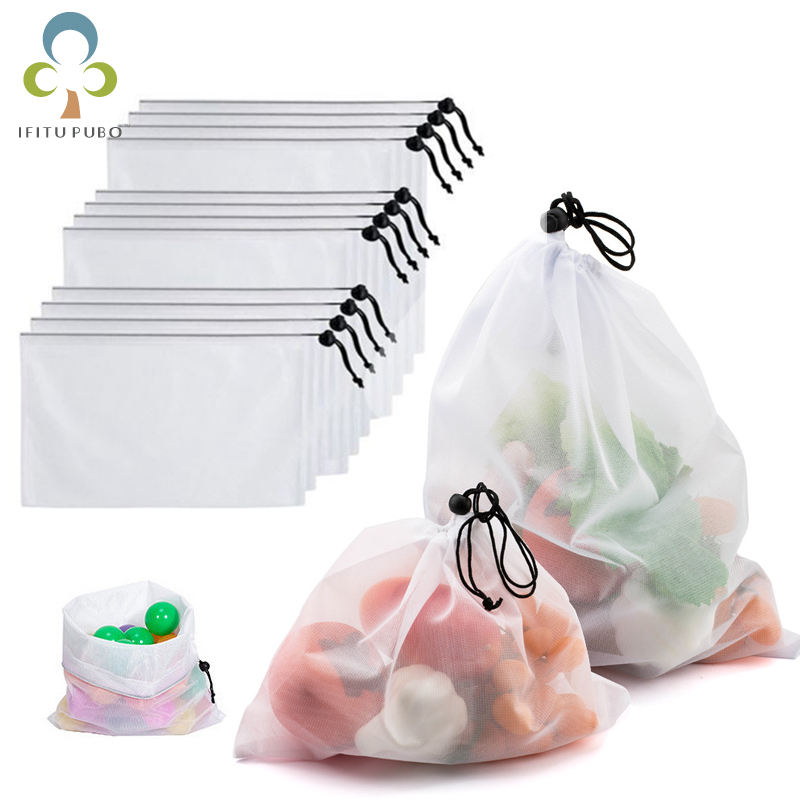 3pcs Reusable Vegetable Fruit Bags Eco Friendly Shopping Toys Mesh Produce Bags Kitchen Storage Mesh Bags ZXH