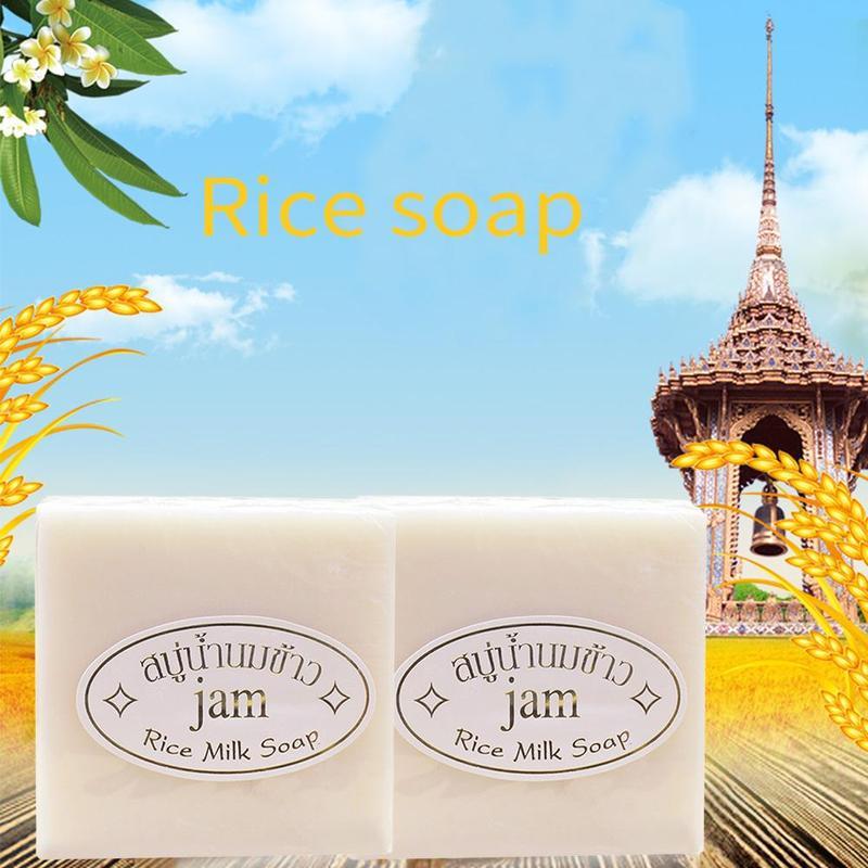 100% Jam Rice Milk Soap Glutathione Skin Whitening Moisturizing Anti Aging 60g