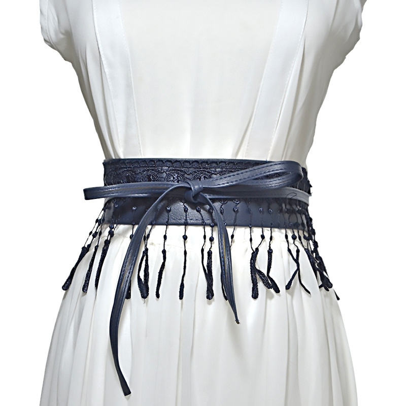 Lace Up Pu Leather Lace Tassel Wide Corset Cummerbunds Strap Belts For Women Girls High Waist Slimming Girdle Belt Ties Bands