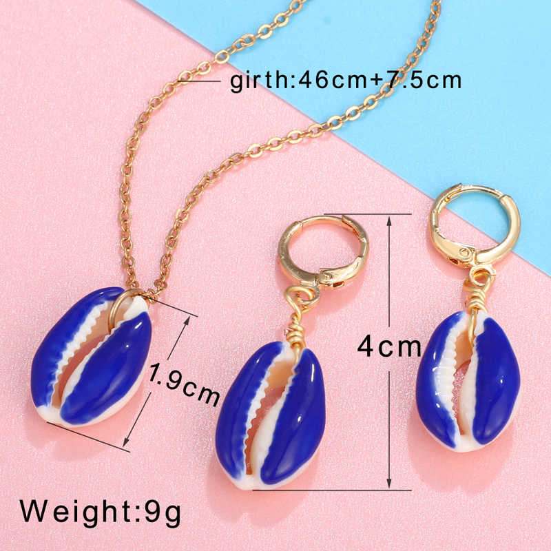 Fashion Jewelry Set Women Colorful Gold Chain Natural Shell Necklace Drop Earrings Summer Boho Women Necklace Earrings Set