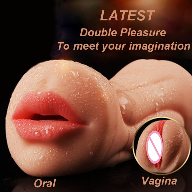 Realistic Vagina Oral Silicone Male Masturbator Pussy and Mouth Artificial 3D Deep Throat with Tongue Teeth Sex Toys for Men