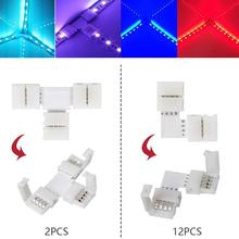 95pcs RGB 5050 4-pin LED IOT Accessories Strip Connector Kit with T-Shaped L-Shaped Connectors Strip Jumpers Strip Clips