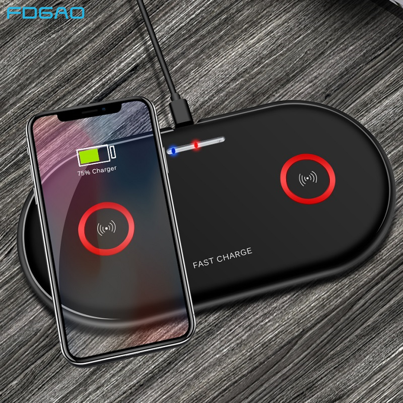 FDGAO 20W Qi Wireless Charger For iPhone SE 2 XS 11 XR 8 X 2 in 1 Dual 10W Fast Wireless Charging Pad For Samsung S20 S10 S9
