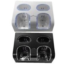 4 in 1 LED uzaktan kumanda şarj standı İstasyonu + şarj edilebilir 4x2800mAh pil USB kablosu WII / WII u