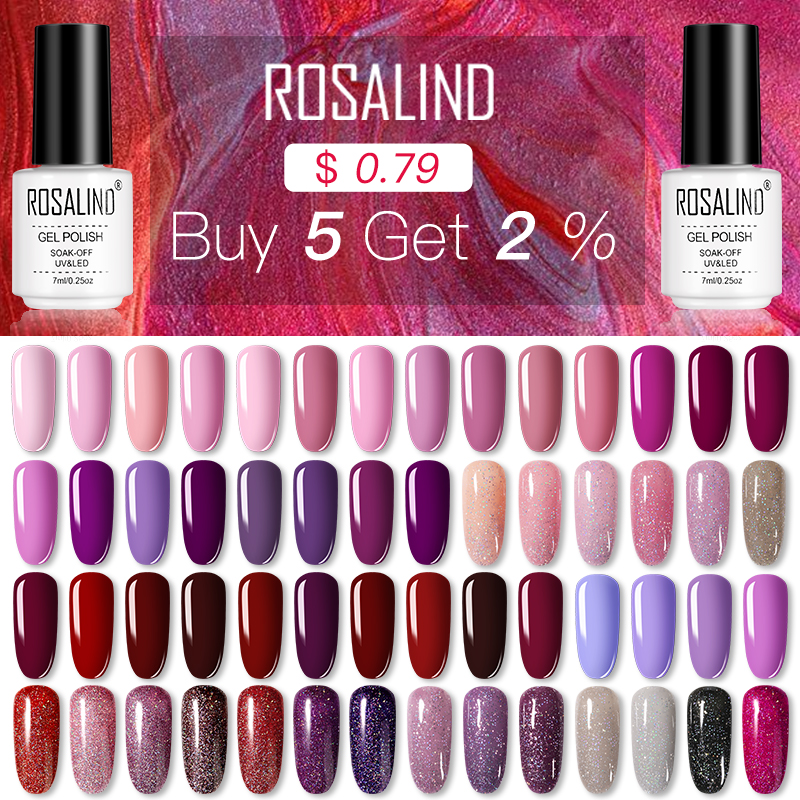 ROSALIND Nail Gel Polish Set For Nails Manicure Semi Permanent Hybrid Base Top Base Coat Dazzling Glitter Gel Varnish Lacquer