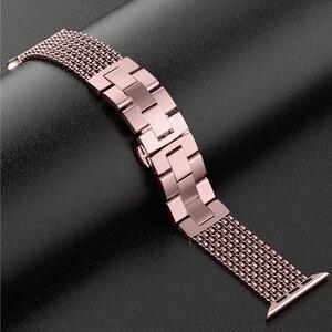 Image 3 - Toyouths עבור אפל להקת שעון iWatch נשים רשת לולאה נירוסטה החלפת מתכת יופי רצועת 38/40mm 42 /44mm