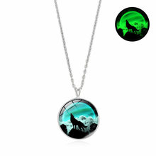 Glow In The Dark Glass Pendant Necklace Women Men Jewelry Charm Fashion Howling Wolf Series Half Moon Luminous Necklace Gift(China)