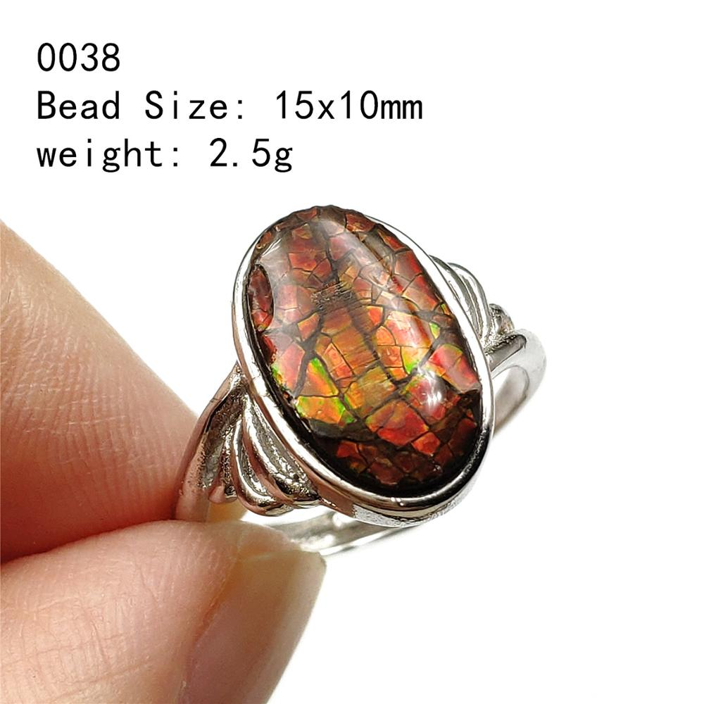 Natural Red Yellow Green Ammonite Ammolite Ring For Men Woman Crystal Love Gift Beads 925 Sterling Silver Fashion Rings AAAAA