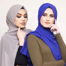 Muslim Scarf Women Plain Bubble Chiffon Hijab Head Wraps Soft Long Georgette Scarves Hijabs