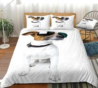 3D Dog Duvet Cover Set White Dog with Sunglasses Bedding White Home Textiles Animal Quilt Cover Teens Queen 3 Pieces Dropship