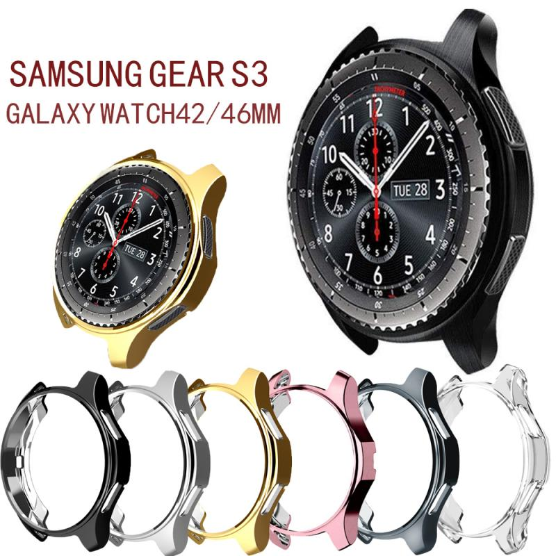 Replacement Watch Protective Frame Protective Case For Samsung Gear S3 / Galaxy Watch 46/42mm Plated TPU Case Protection Cover