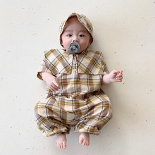 MILANCEL baby rompers baby summer rompers England style baby boy clothes jumpsuits with free hat cheap COTTON Plaid O-Neck Single Button Unisex Short MIL0408 Fits true to size take your normal size 66-90 6m-9m-12m-2T baby jumpsuits