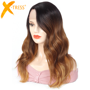 Image 2 - Ombre Brown Blonde Pink Synthetic Lace Front Wigs Long Body Wave Side Part Blue Grey Cosplay Hair Wig X TRESS African Hairpiece