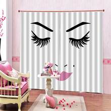 Luxury Blackout 3D Window Curtains Girl Face and Beauty Makeup Adult Window Curtains For Living Room Bedroom curtains(China)