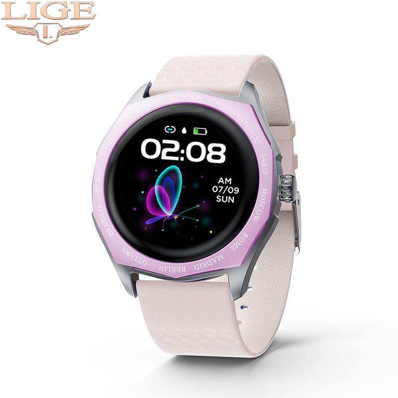 LIGE dames montre intelligente femmes smartwatch couleur changeante sangle pour Android ios étanche sport Fitness Tracker santé montre