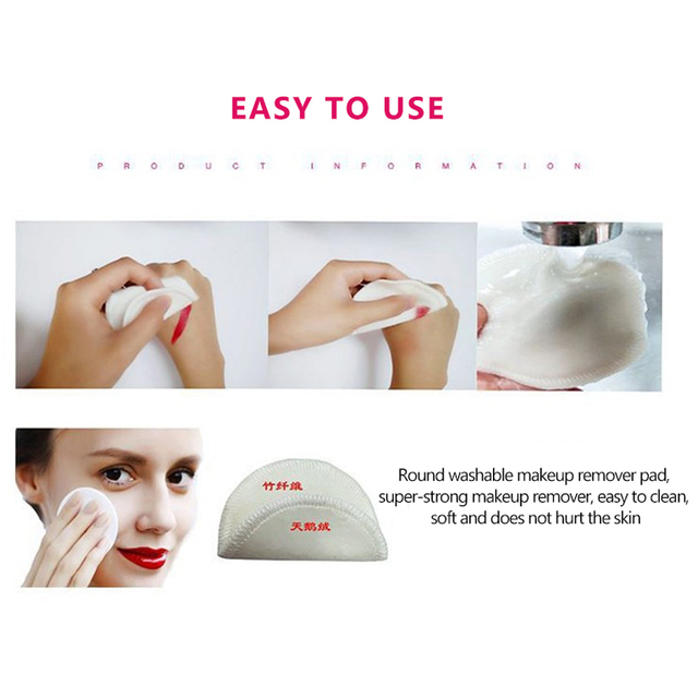 2/5pcs Reusable Bamboo Fiber Makeup Remover Pads  Washable Rounds Cleansing Facial Cotton Make Up Removal Pads Tool 4