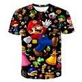 2021 Summer New Mario 3D T-shirt Boy Classic Cartoon New Harajuku Style Brother Kids Clothes Mario Boy Clothes Street T-shirt