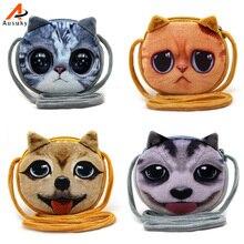 3D cute kitty plush shoulder bag children cat/dog animal model kids fashion coin purse Porte Monnaie homme