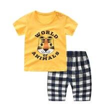 цена на Boys Clothing Sets Summer Beach set T shirt+Cropped Pants 2pcs/Set Cotton Children Clothes Kids Boys Suit For 6M-3Year