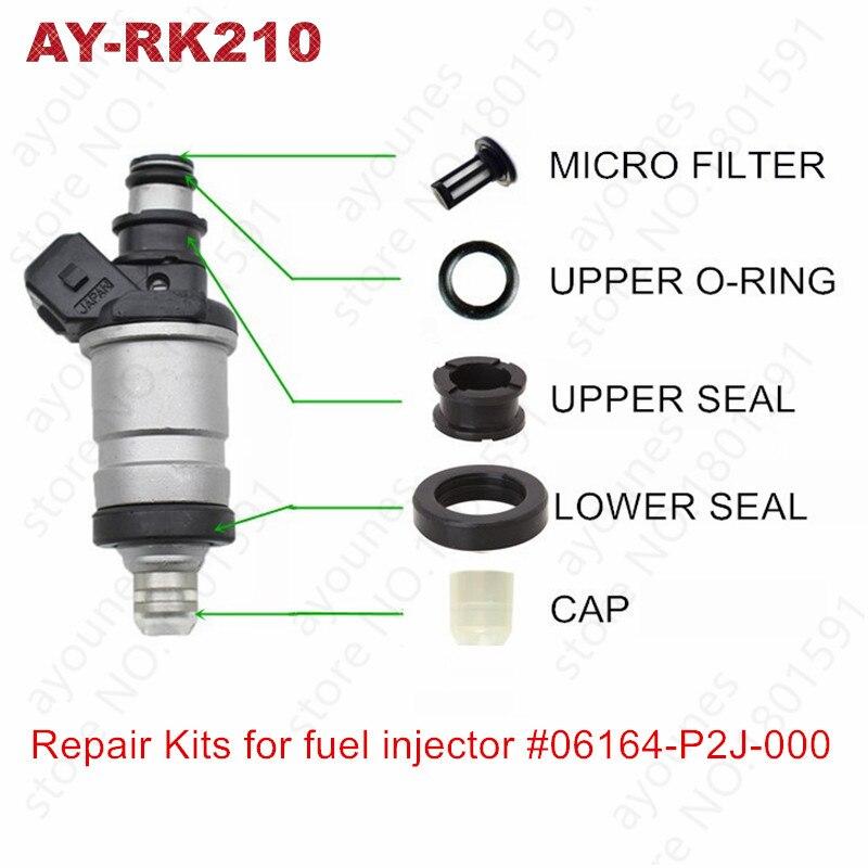 شحن مجاني 4 مجموعات لهوندا حاقن وقود إصلاح أطقم لقطع غيار #06164-P2J-000 06164-P2A-000 ل AY-RK210