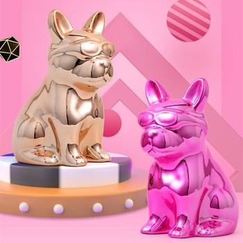 Modern Art Creative Abstract Dog Money Box Statue French Bulldog Figurine Ceramics Crafts Living Room Decoration Gift R3588