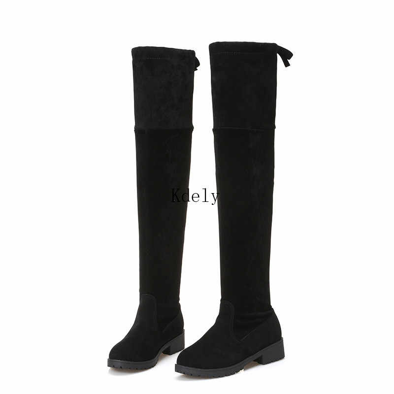 Thigh High Boots Female Winter Boots Women Over The Knee Boots Flat Stretch Sexy Fashion Shoes 2020 Black Botas Mujer