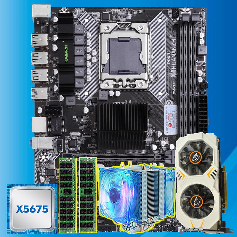 HUANANZHI X58 motherboard with Xeon CPU X5675 3.06GHz CPU cooler RAM 8G(2*4G) REG ECC GTX750Ti 2G video card computer parts DIY