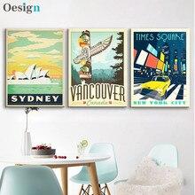 Retro cartaz de viagem do vintage cartazes paisagem urbana nova iorque sydney quadros da lona parede parágrafo sala estar decoração ma