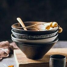 Grand bol ramen en en céramique japonaise, bol de riz, bol de soupe à nouilles, ensemble de vaisselle créative, bol de chapeau commercial