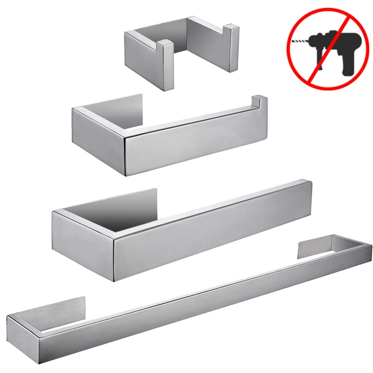 Self Adhesive Bathroom Accessories Set No Drill Chrome Finis