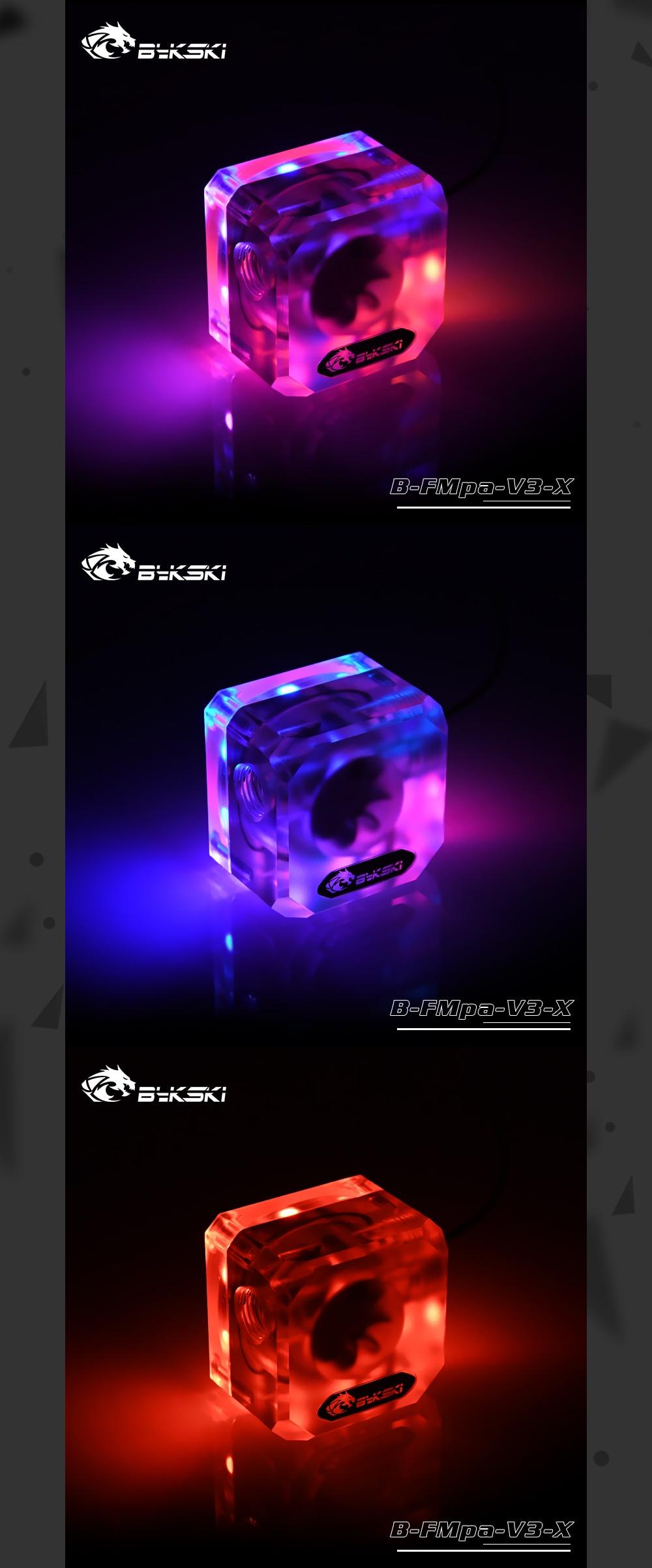 Bykski B-FMpa-V3-X Matte Acrylic Water Flows G1/4 RBW(5v) RGB(12v) Lighting System Water Cooling Flows