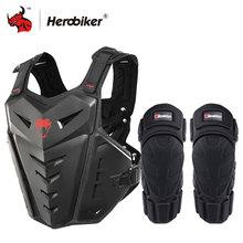 HEROBIKER motosiklet zırh yelek motosiklet koruma motosiklet sürme göğüs zırh Motocross yarış yelek ve motosiklet diz pedleri