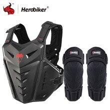 Herobiker motocicleta armadura colete de proteção da motocicleta equitação no peito armadura motocross corrida colete & joelheiras da motocicleta