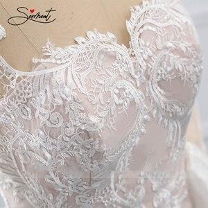 Image 3 - BAZIIINGAAA Hochzeit Kleid Ärmelloses Rundhals Abnehmbare Schwanz Hochzeit Kleid Meerjungfrau Spitze Applique Braut Unterstützung Tailor made