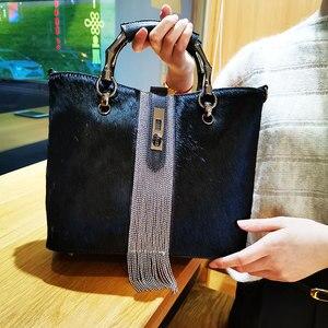 Модные женские сумки из конского волоса, сумки-мессенджеры с кисточками, сумки из конского волоса с бриллиантами, Высококачественная женск...
