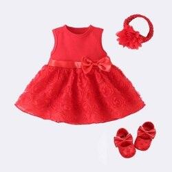 Neugeborenen Baby Mädchen Kleid Baby Kleid Baby Kleidung 0-3 Monate Hochzeit Party Geburtstag Outfits 0-1 Jahre kleid Schuhe Set Taufe