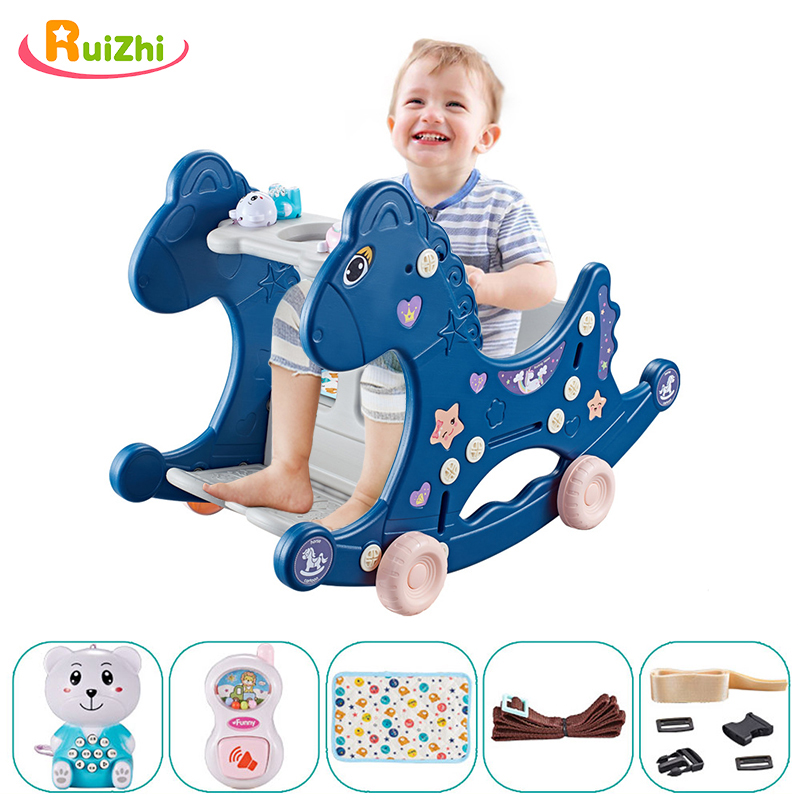 Ruizhi Children Three In One Plastic Rocking Chair Baby Indoor Multi Function Rocking Horse With Music Ruizhi Children Three-In-One Plastic Rocking Chair Baby Indoor Multi-Function Rocking Horse With Music Kids Sport Toys RZ1197